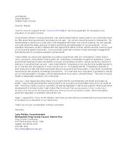 Civics for All Endorsement Letter from Larry Phillips