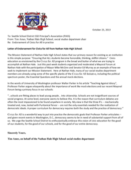 Civics for All Endorsement Letter from Tim Ames