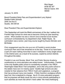 Civics for All Endorsement Letter from Rick Nagel