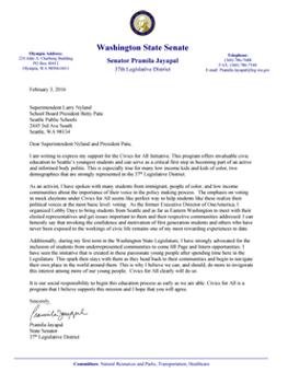 Civics for All Endorsement Letter from Pramila Jayapal, Washington State Senator, 37th Legislative District, Committees: Natural Resources & Parks, Transportation, Healthcare